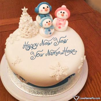 Cute Happy New Year Cake Photo With Name