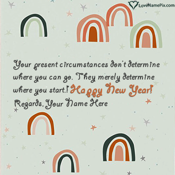 Cute Happy New Year Greetings Card With Name
