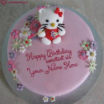Cute Hello Kitty Sister Birthday Cake With Name
