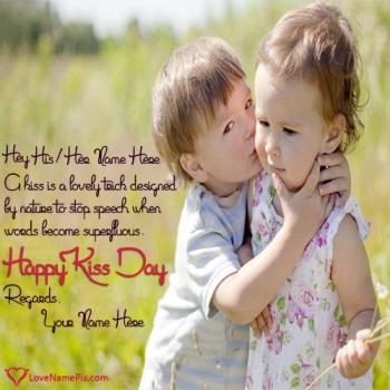 Write name on Cute Kiss Day Quotes love images