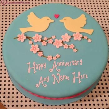 Cute Love Birds Anniversary Cake With Name