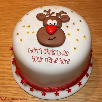 Cute Merry Christmas Wishes Cake With Name