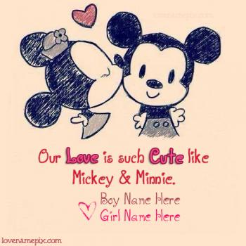 Write name on Cute Mickey Minnie love images
