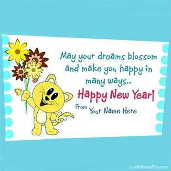 Cute New Year Wishes Card Name Picture