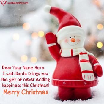 Cute Red Santa Happy Christmas With Name
