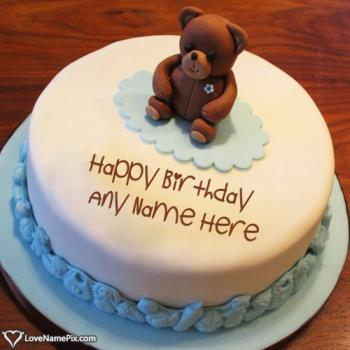 Cute Teddy Birthday Cake For Son With Name