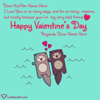 Write name on Cute Teddy Couple Valentines Quotes love images