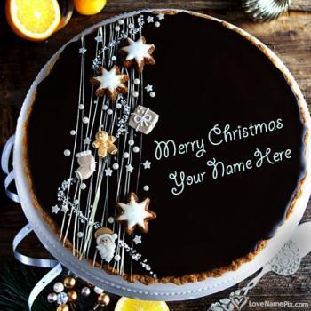 Dark Chocolate Happy Christmas Wishes Cake With Name