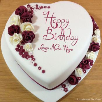 Decorated Lovers Birthday Cake With Name