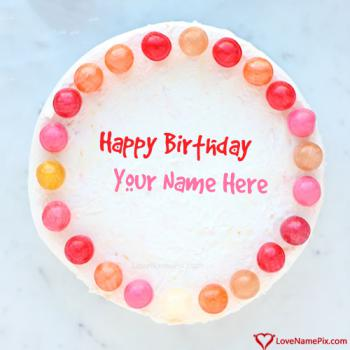 Write Name On Download Colorful Toffees Birthday Cake