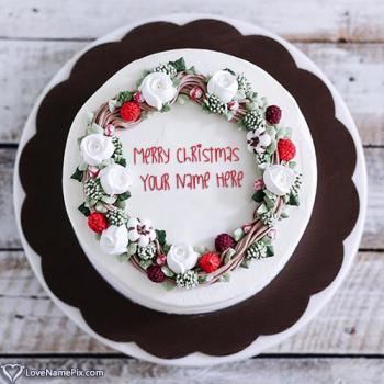 Elegant Merry Christmas Fruit Cake With Name
