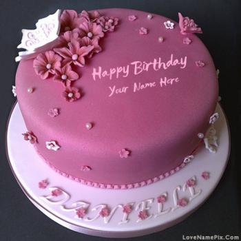 Elegant Pink Birthday Cake With Name