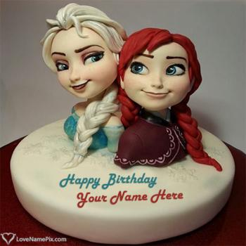 Elsa Anna Sisters Birthday Cake With Name