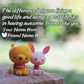 Write friend name on Friendship Love Messages images