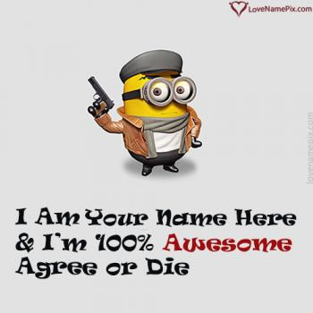 Funny Minion Pic For FB Profile With Name