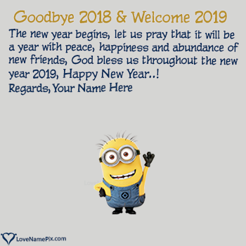 Goodbye 2017 Hello 2018 Cute Wishes Name Picture