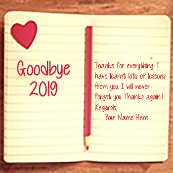 Goodbye 2019 Thanks For Memories With Name