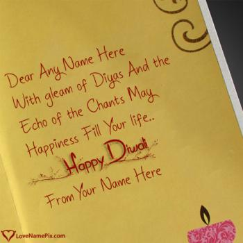Write name on Handmade Diwali Greeting Cards images