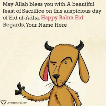Happy Bakra Eid Mubarak Wishes Name Picture