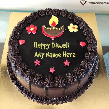 Happy Diwali Sweet Wishes Cake With Name