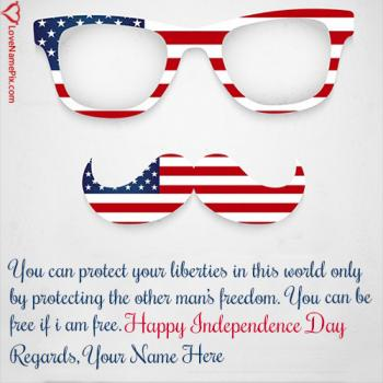 Write name on Happy Independence Day United States Of America images