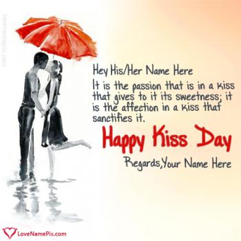 Write name on Happy Kiss Day Couple Painting love images
