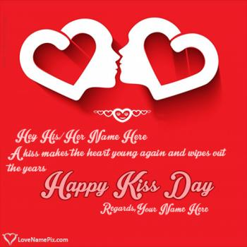 Write name on Happy Kiss Day Hearts Wishes love images