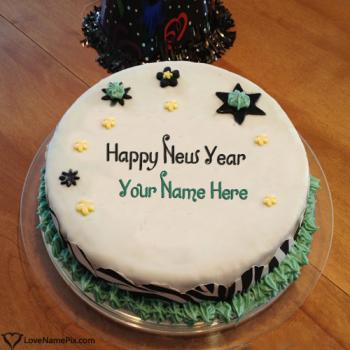 Write name on Happy New Year Greetings Cakes pictures