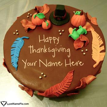 Happy Thanksgiving Wishes Cake With Name