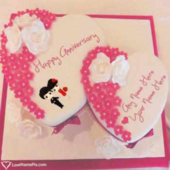 Heart Anniversary Cake For Husband With Name