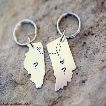 Heart On Key Chain Name Picture
