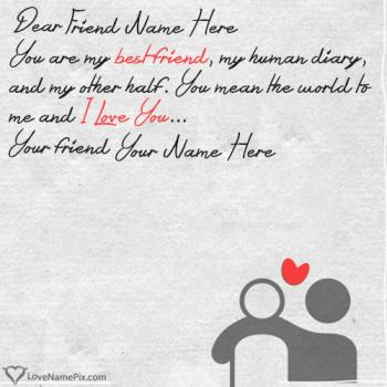 Write friend name on Heart Touching Friendship Quotes images