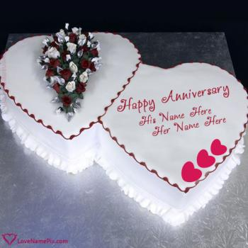 Hearts Anniversary Cake For Couples With Name