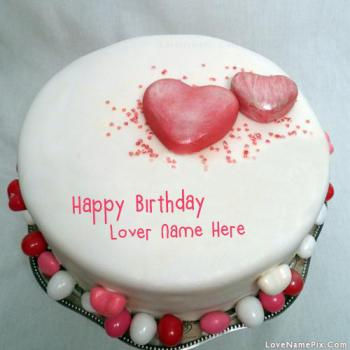 Hearts Cake for Birthday Wishes Name Picture