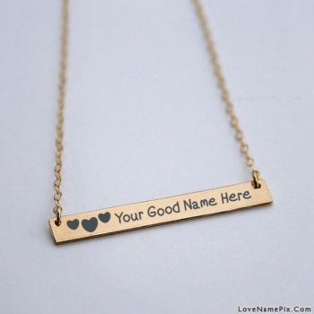 Write name on Hearts Gold Bar Necklace images
