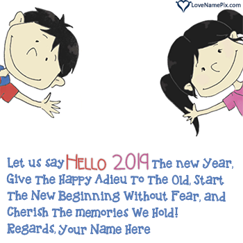 Write name on Hello 2019 Greeting Messages images
