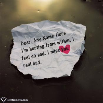 Write name on I Miss You Quotes For Him love images