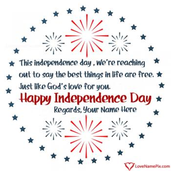 Write name on Independence Day Wishes Quotes Of America images