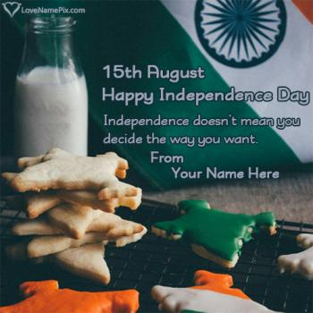 Write name on India Independence Day Celebrations images