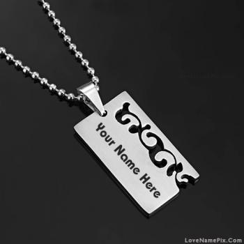 Men Steel Pendant Necklace Name Picture