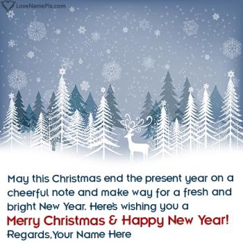 Merry Christmas And Happy New Year Wishes Name Picture