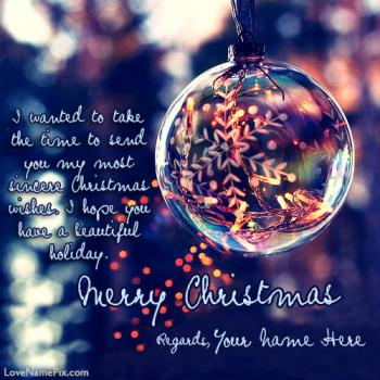 Write name on Merry Christmas Greeting Cards images