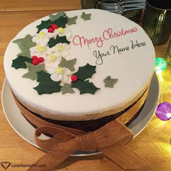 Write name on Merry Christmas Greetings Cake pictures