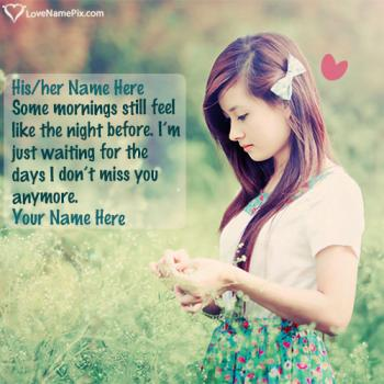 Write name on Missing U Lonely Girl In Nature love images