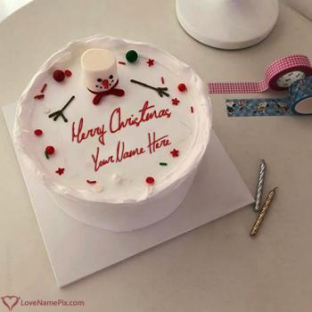 Most Liked Happy Christmas Cake With Name