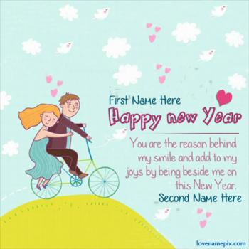 Write name on New Year Quotes Love Wishes images