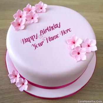 Pink Girls Birthday Cake With Flowers With Name