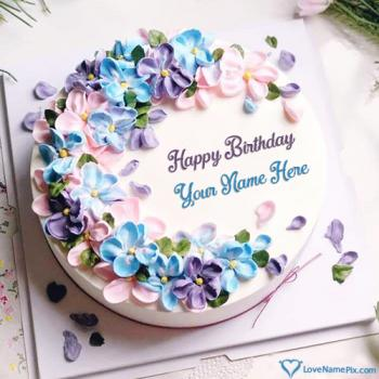Pink Purple Flowers Birthday Cake Generator With Name