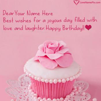 Pretty Cupcake Birthday Wish For Girls With Name