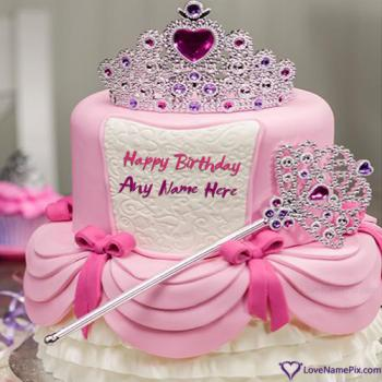 Pretty Girl Crown Princess Birthday Cake With Name